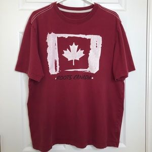 Roots T-Shirt Red White Graphic Size Large